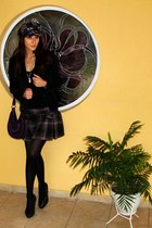 plaid skirt - plaid hat - black velvet blazer - purple velvet fullah sugah bag