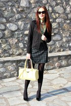 forest green plaid skirt - black blazer - chartreuse checkered shirt