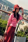 Brick-red-pull-bear-hat-tawny-leather-carla-mirabella-shoes