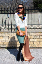 teal wool skirt - black Tally Weijl tights - bronze Jimmy Choo purse