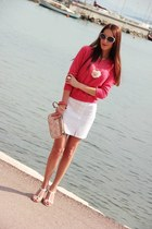 white vintage skirt - coral sweater - ivory Louis Vuitton purse - coral bracelet