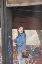 blue jacket - black purse - black Promod bracelet - silver Zara-TRF jeans