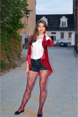 ruby red velvet blazer - black Pull & Bear shorts - white Zara blouse