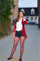 black Pull & Bear shorts - ruby red velvet blazer - white Zara blouse