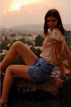 beige Zara blouse - blue Orsay shorts - black Promod bracelet