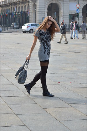 black boots - black H&M tights - charcoal gray bag - heather gray Vila swimwear