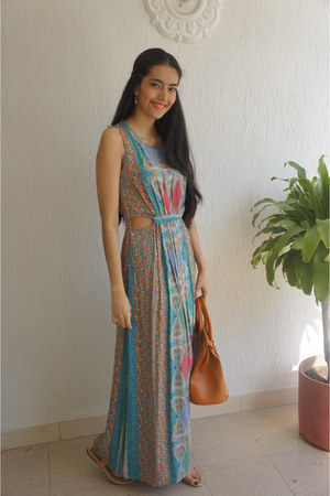 turquoise blue Forever 21 dress - tawny Mart of China bag