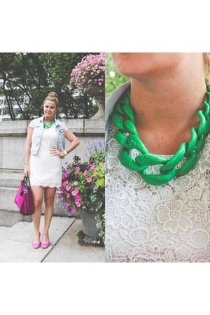velvet longchamp bag - bag - shopper tote bag - lace H&M dress