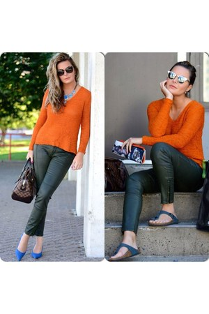 carrot orange H&M blouse - Burberry pants - Zara necklace