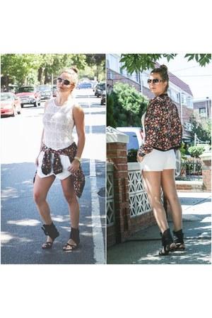 floral print Zara jacket - skort Zara shorts - oversized Forever 21 sunglasses
