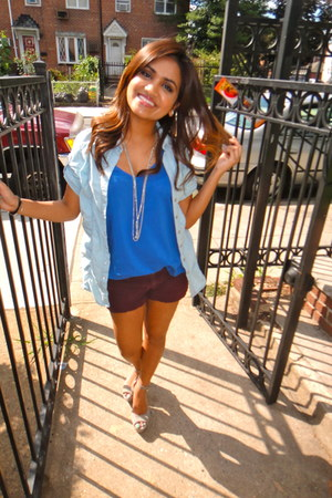 necessary clothing blouse - sky blue Express shirt - crimson Abercrombie shorts