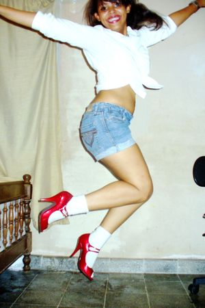 red Luichiny shoes - white Express shirt - DIY denim shorts