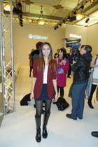 Zara blazer - Gucci boots - American Apparel shirt - Bershka skirt