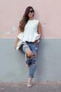 Mecca-jeans-prisila-leger-purse-mecca-blouse-schutz-heels