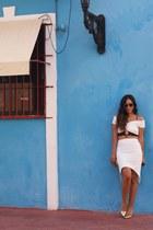 white Gatsby skirt - black asos bag - gold Jessica Simpson pumps