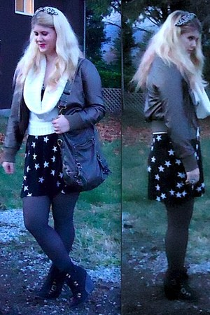 white Fairweather sweater - navy Sirens dress - bronze Forever 21 jacket