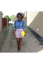 blue denim shirt H&M shirt - yellow Zara bag