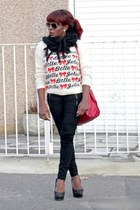 heavy knit Miss Selfridge jumper - Zara bag - Zara pants - asos heels
