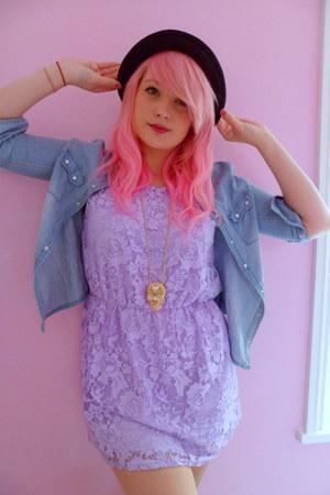 lace new look dress - Ebay hat - denim new look shirt - skull new look necklace