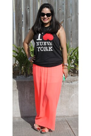 maxi skirt neon Forever 21 skirt - 31 Phillip Lim top - American Eagle flats