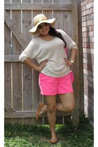hot pink JCrew shorts - sweater Guess sweater - tan Zara flats