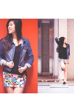 H&M shoes - navy cotton on jacket - black Victorias Secret top