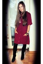 pink unknown brand dress - black c&a tights - black unknown brand boots - pink C