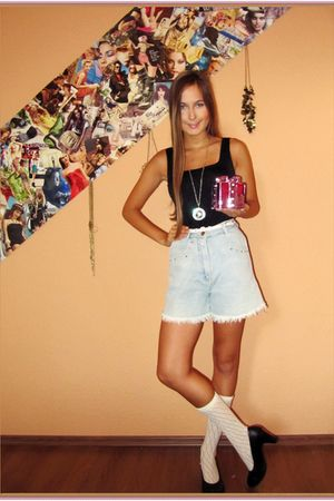black Zara top - blue self-made shorts - c&a socks - black unknown brand shoes -