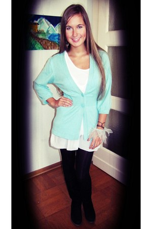 aquamarine H&M cardigan - white unknown dress - black H&M tights - puce Sfera ea