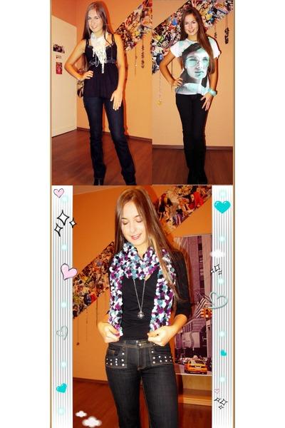 navy self-made belt - aquamarine Mango t-shirt - black Zara shirt - turquoise bl