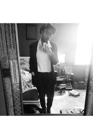 black Old Navy jeans - black blazer - off white thrifted vintage blouse