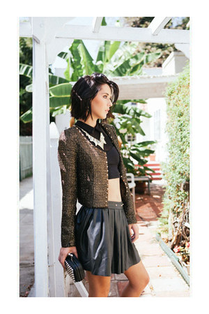 wedges - spiked tweed jacket - bag - top - spiked leather skirt