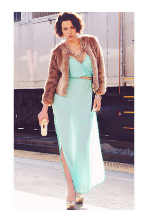 lace back maxi dress - jacket - heels - belt - ring - bracelet