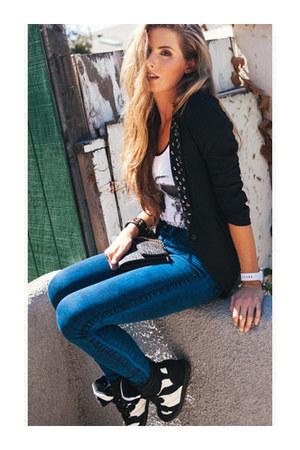 jeans - spiked flyaway blazer - bag - suede wedge sneakers