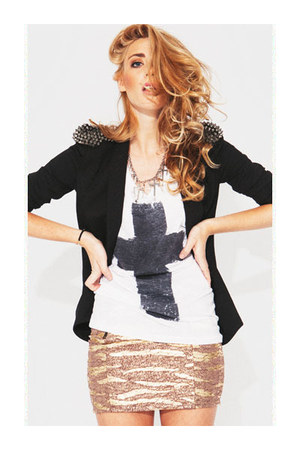 blazer - boots - top - skirt - cross charm necklace - bracelet