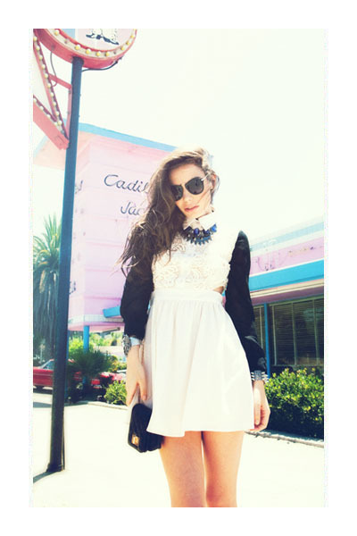necklace - boots - dress - bag - metal bridge sunglasses - bracelet