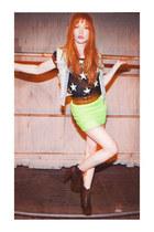 skirt - heels - cut-off denim vest - top - tribal triangle necklace - belt