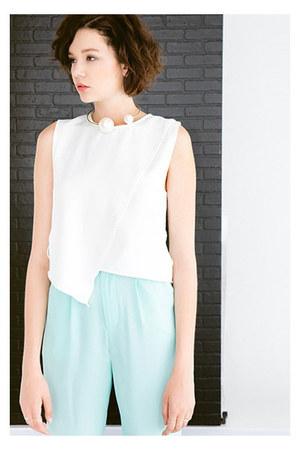 top - pants - necklace - flats