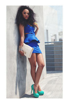 cut-out peplum dress - bag - patent platform heels - ring - bracelet