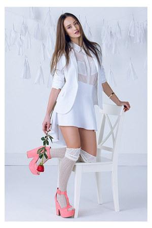 bracelet - blazer - socks - blouse - heels - skirt