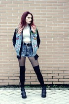 Levis jacket - Primadonna boots - black Primark tights - asos shorts