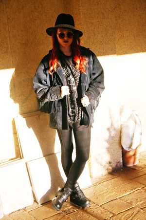 navy thrifted vintage jacket - Primadonna boots - Lefties hat - Bershka leggings