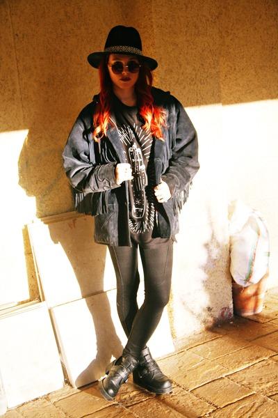 navy thrifted vintage jacket - Primadonna boots - Lefties hat - Bershka leggings