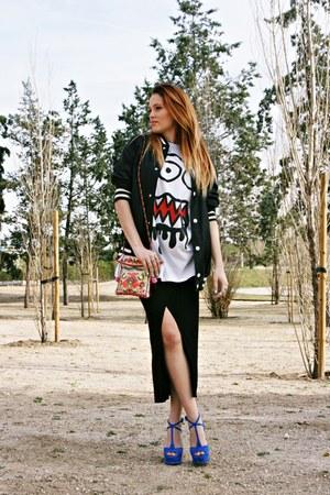 Zara bag - H&M jacket - asoscom shirt - Zara heels - Zara skirt
