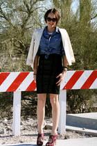 black leather High Gloss Fashion skirt - blue denim shirt H&M shirt