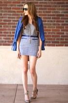 blue faux leather Bar III jacket - heather gray cotton Michael Stars t-shirt