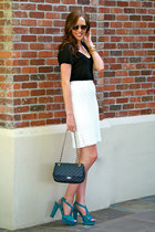 white lace Karen Kane skirt - black heart shaped Urban Outfitters sunglasses