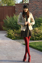maroon opaque Jcpenny tights - maroon leather  suede Pour La Victoire boots