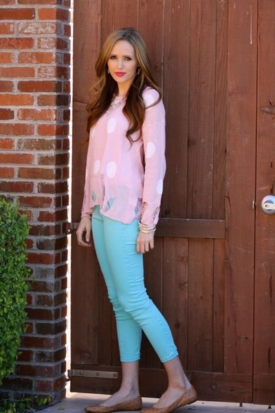 aquamarine denim Gap jeans - camel polka dots madewell flats