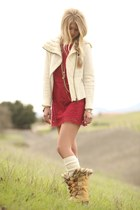 Anthropologie jacket - Sorel boots - free people dress - free people socks